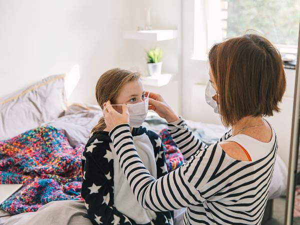 woman and her daughter wearing face masks for coronavirus
