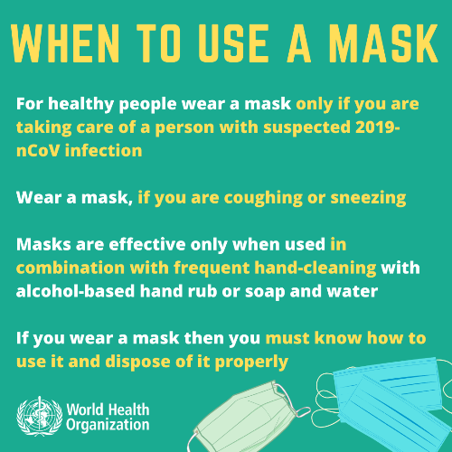 When to use face mask for Coronavirus