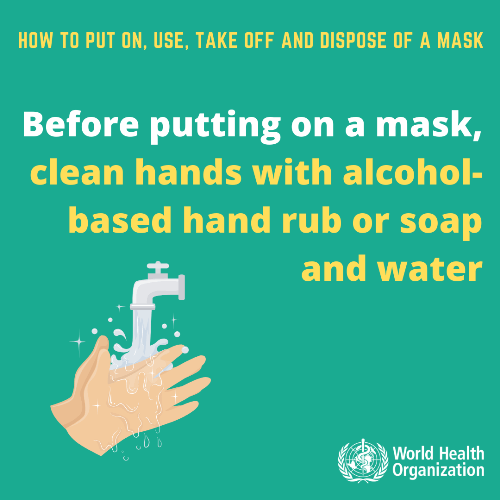 how to clean hands before wearing face mask