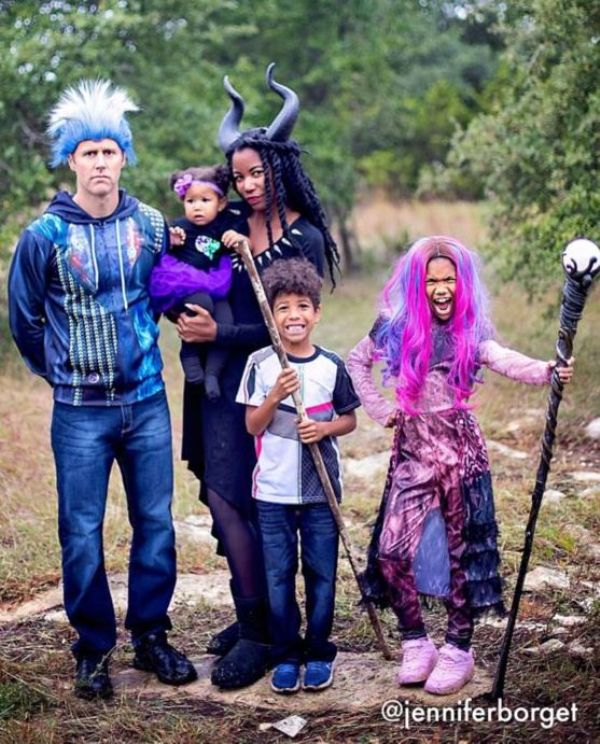 family Halloween costumes in purple and blue