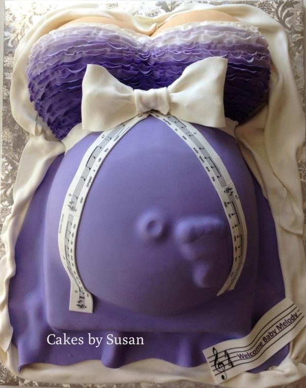 baby shower cake in purple dress design