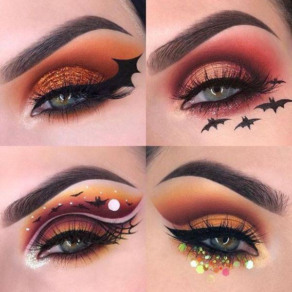 orange Halloween eye makeup