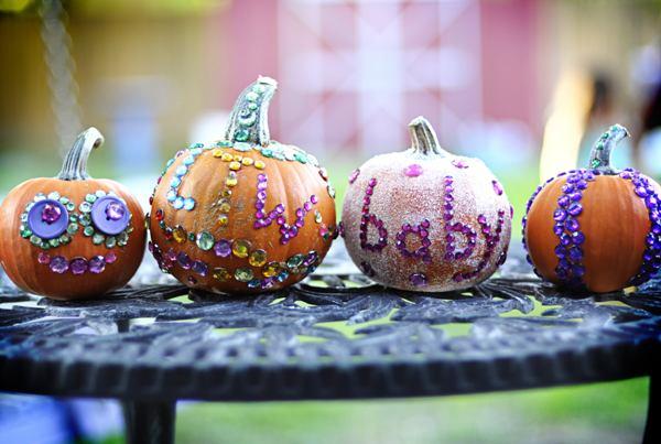 pumpkin paint with rhinestone and glitter