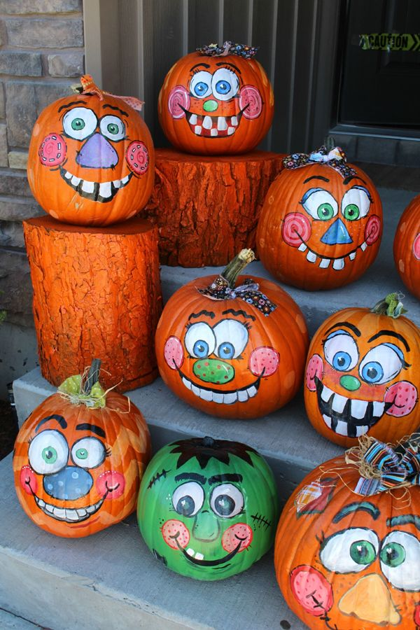funny faces pumpkin painting