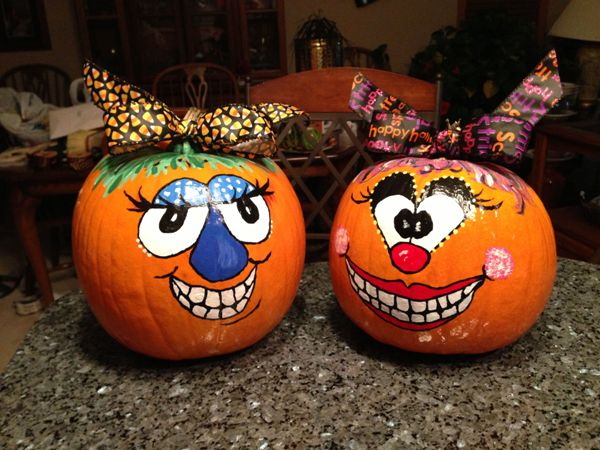 faces pumpkin painting