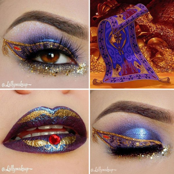 purple and gold eye shadow and lip makeup from Aladdin cartoon