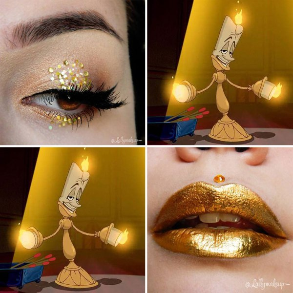 gold lipstick and eye shadow design