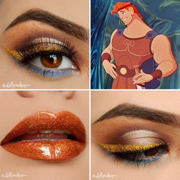 gold eye shadow design and gold lipstick