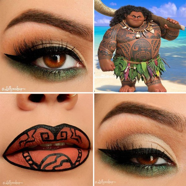Moana green eye shadow and brown lips
