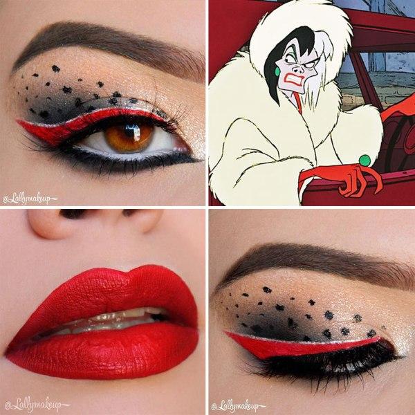 red eye shadow design and red lipstick, Cruella De Vil makeup from 101 Dalmatians cartoon