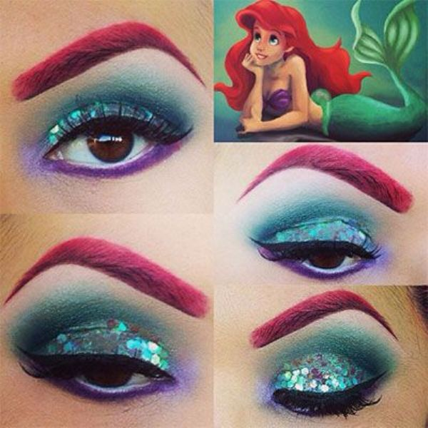 green and red eye shadow design from Ariel the mermaid cartoon