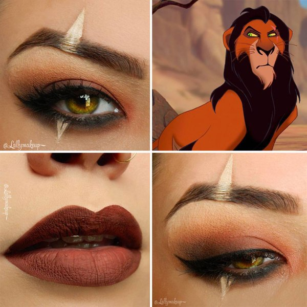 lion king eye shadow design and brown lip color