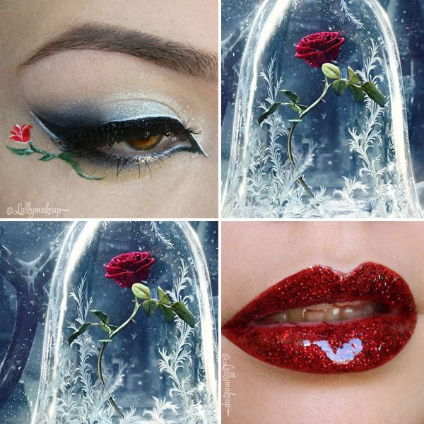 red lip gloss and eye shadow design