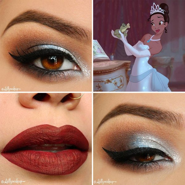 white eye shadow design and red lips