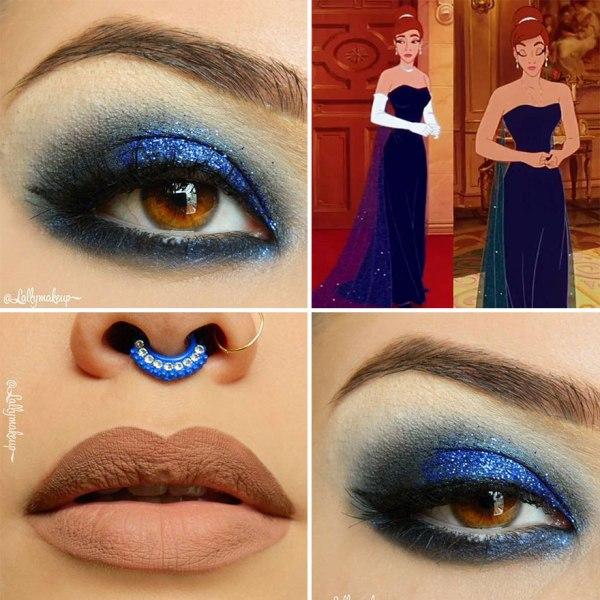 blue eye shadow design and beige lips