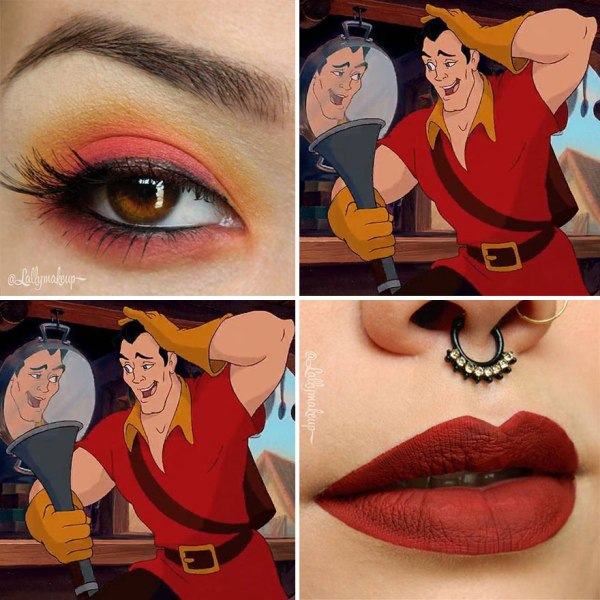 red eye shadow and lip color