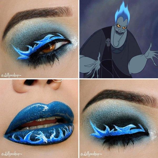 blue eye shadow designs and blue lip makeup