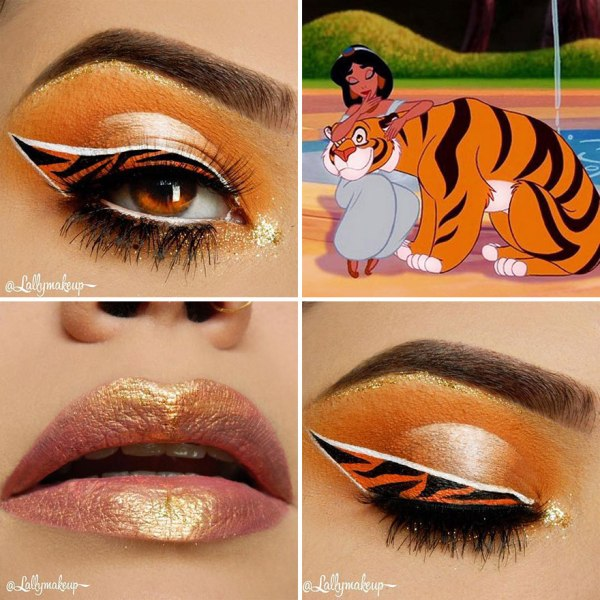 Tiger eye shadow design and gold lipstick