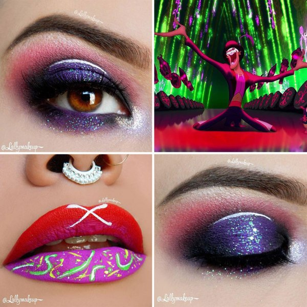 purple eye makeup and red lipstick